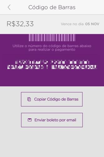 Fatura Nubank emitida pelo aplicativo